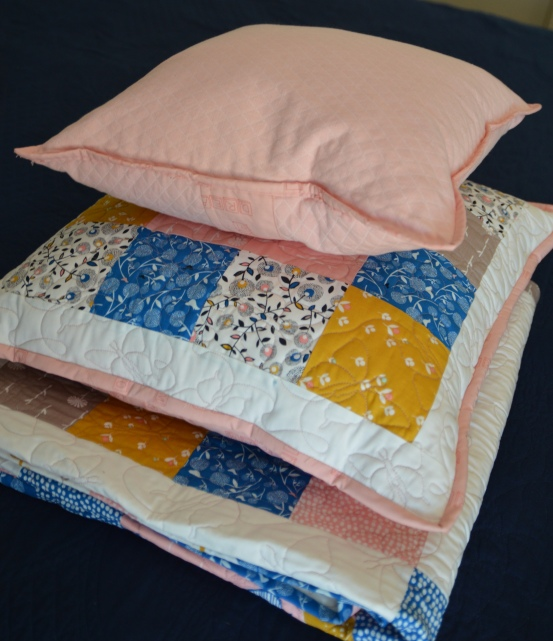 September Blue cushions and quilt stack